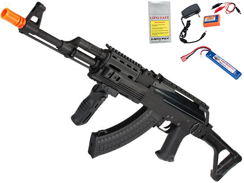 G&P Contractor AK47 Airsoft AEG Rifle with Folding Stock (Package: Add Battery + Charger)