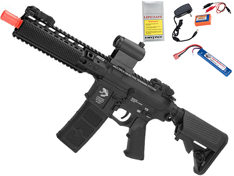 G&P MOTS High Speed 8 Keymod M4 Carbine Airsoft AEG Rifle (Package: Black / Add Battery + Charger)