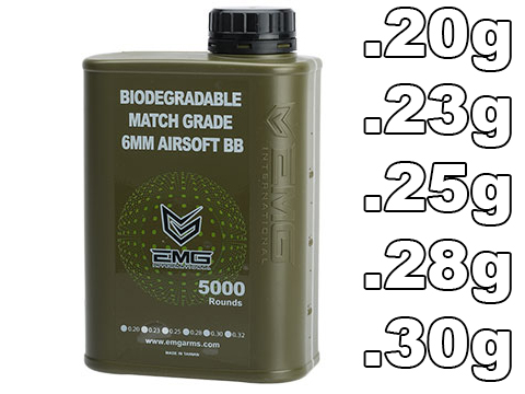 EMG International Match Grade Biodegradable 6mm Airsoft BBs - 5000 Rounds (Weight: .20g)