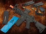 Go Airsoft Starter Package Avengers BAMF M4 LiPo Ready Airsoft AEG Rifle (Model: M4 Stubby / Black)