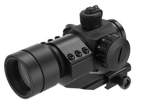 Matrix Military Type 1x30 Red & Green Dot Sight w/ QD Cantilever Mount (Model: High Mount / Large Dial / Black)