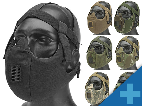 6mmProShop V5 Breathable Padded Dual Layered Nylon Half Face Mask w/ Bump Helmet Straps (Color: Black)