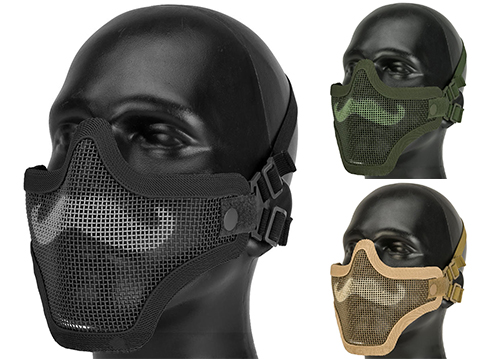 6mmProShop Iron Face Carbon Steel Mesh Moustache Lower Half Mask (Color: Black)