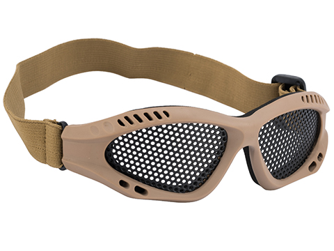 6mmProShop Zero Wire Mesh Adjustable Shooting Range Goggles (Color: Tan)