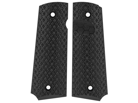 AW Custom Grip Panel Set for 1911 Series Airsoft GBB Pistols (Style: Black / Hex Texture)