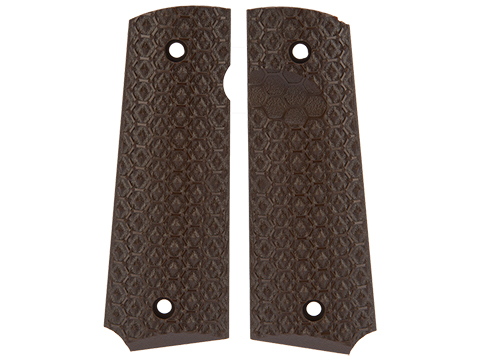 AW Custom Grip Panel Set for 1911 Series Airsoft GBB Pistols (Style: Brown / Hex Texture)