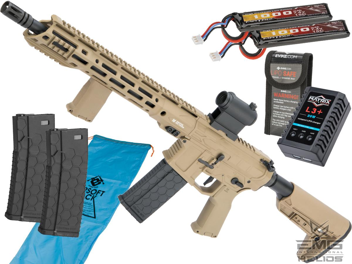 EMG Helios F4 Defense Licensed F4-15 ARS-L MLOK M4 Airsoft AEG Rifle (Model: Carbine / Dark Earth / Go Airsoft Package)