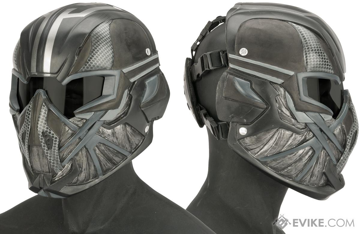 Evike.com R-Custom Fiberglass  Viper Full Face Mask with Grey Lens (Color: Silver and Black)