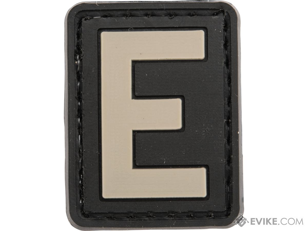 Evike.com PVC Hook and Loop Letters & Numbers Patch Black/Grey (Letter: E)