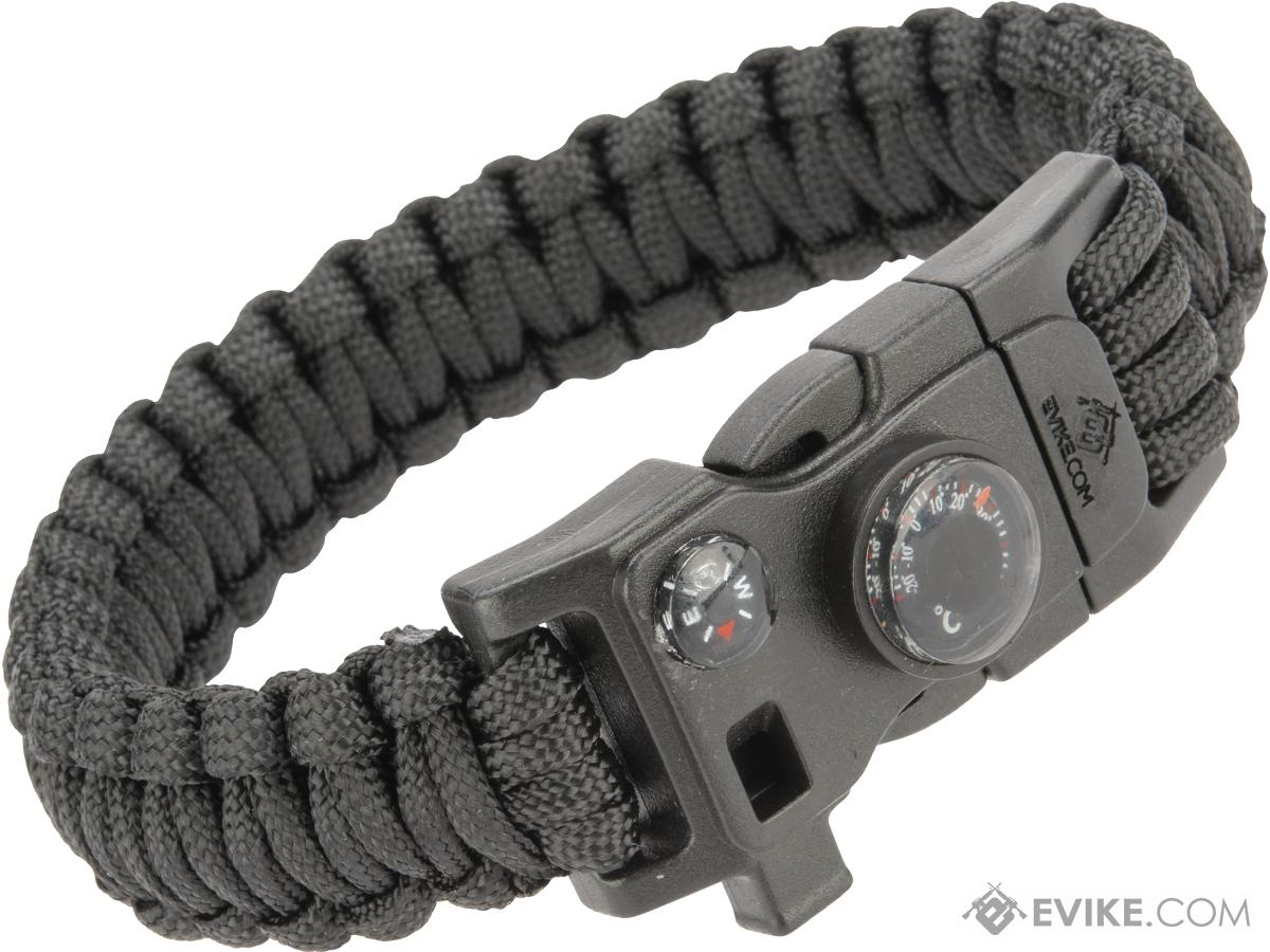 Evike.com Paracord Advanced Survival Bracelet with Firestarter (Color: Black / 7)