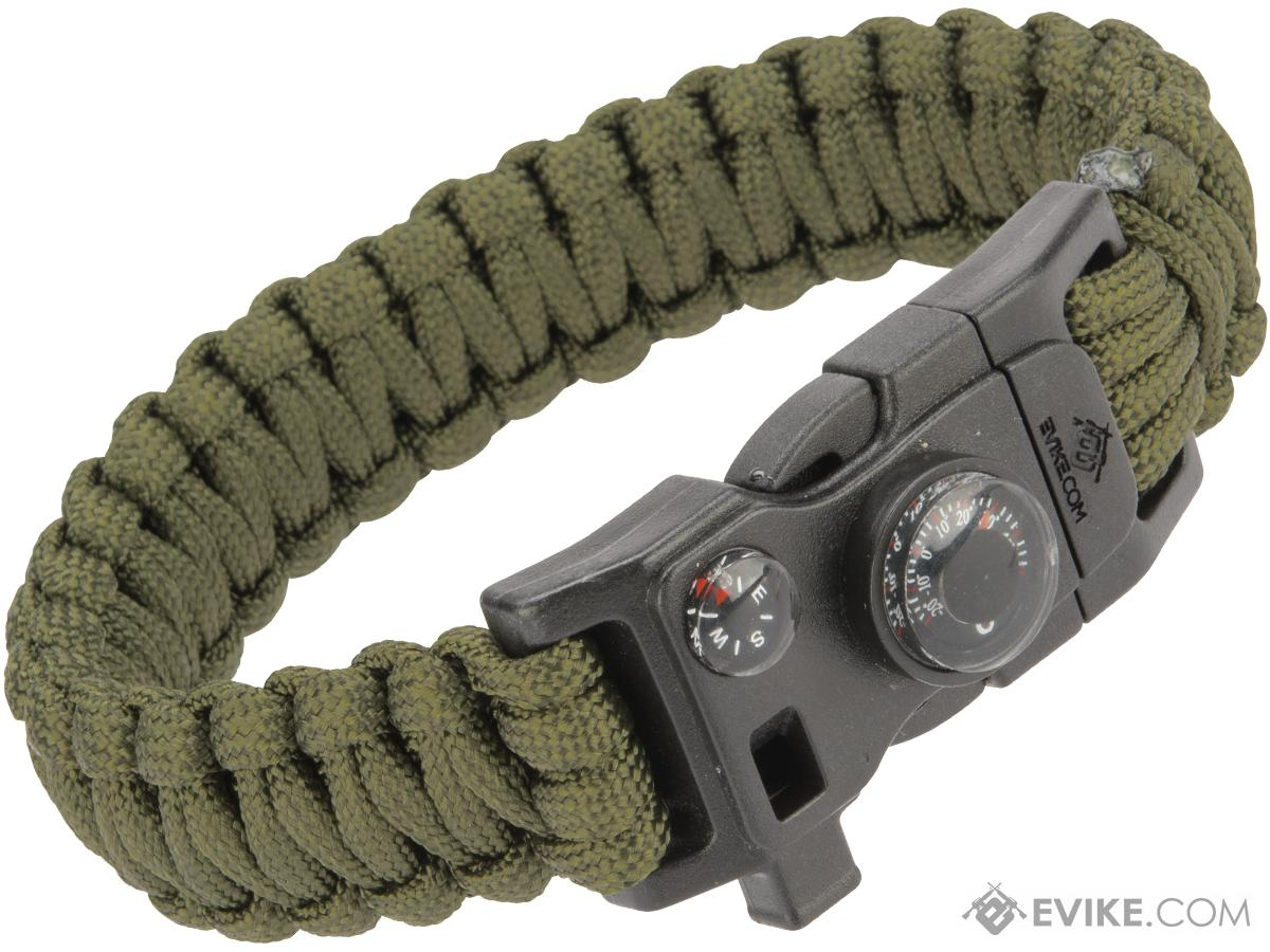 Evike.com Paracord Advanced Survival Bracelet with Firestarter (Color: OD Green  / 9)