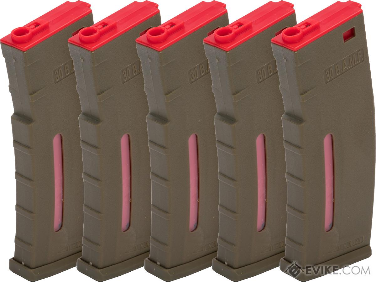 Evike.com BAMF 30rd Polymer MilSim Magazine for M4 / M16 Series Airsoft AEG Rifles (Color: Tan & Red / Pack of 5)