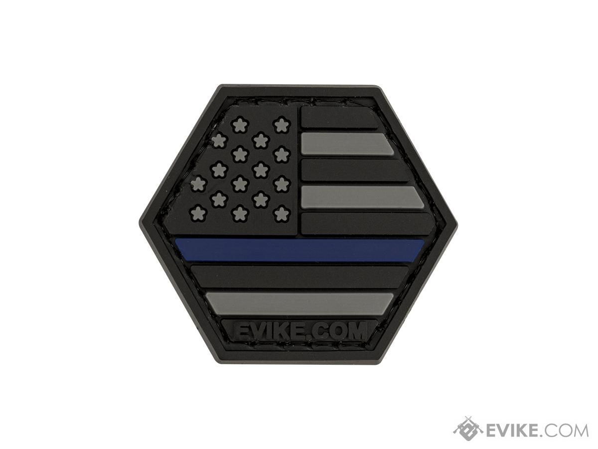 Operator Profile PVC Hex Patch American Flag Series (Color: Thin Blue Line)