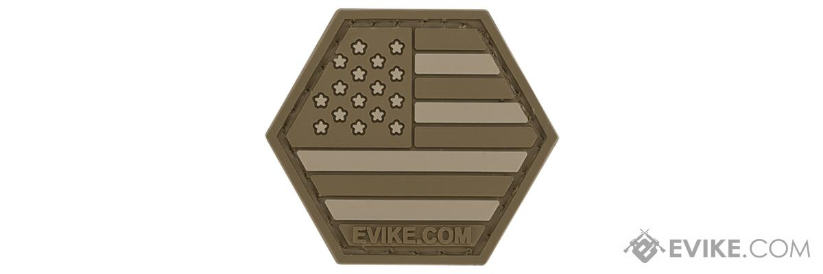 Operator Profile PVC Hex Patch American Flag Series (Color: Tan)