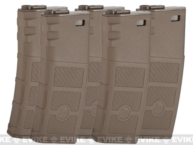 Evike High RPS 130rd Mid-Cap Polymer Magazine for M4 Airsoft AEG Rifles by G&P (Color: Dark Earth / 5-Pack)