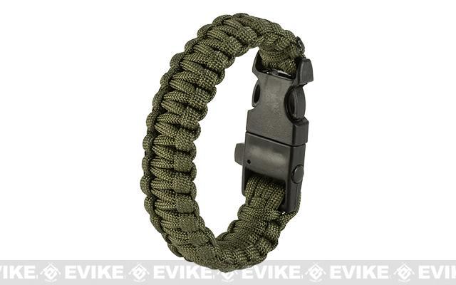 Evike.com Multi-Function Survival Paracord Fire Starter & Whistle Bracelet  - Olive Drab / 10