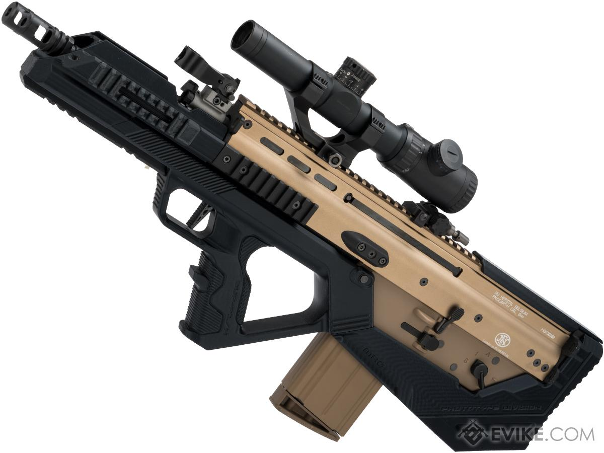 Evike.com Custom WE-Tech MK17 Gas Blowback Airsoft Rifle with SRU SCAR-H Bullpup Conversion Kit (Color: Black / Tan)