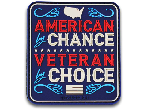 7.62 Designs PVC Veteran by Choice Hook and Loop Morale Patch (Color: Full Color)