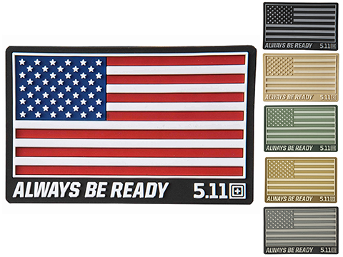 5.11 Tactical US Flag - Always Be Ready PVC Hook and Loop Morale Patch
