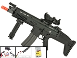 FN Herstal Licensed Full Metal SCAR CQB Airsoft AEG Rifle by G&G (Package: Black / Add 7.4v LiPo Battery + BMS Charger + LiPo Safe)
