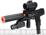 Double Eagle M30P Airsoft SMG w/ Mock Silencer Flaslight and Reddot Scope