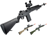 AGM M14 Full Size Airsoft Spring Powered Sniper Rifle + Red Dot & Flashlight