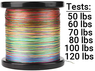 Battle Angler 8x depth finder color coded braid PE fishing line