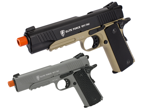 Elite Force Full Metal 1911 Tactical CO2 Airsoft Gas Blowback Pistol Umarex KWC (Color: Desert & Black)