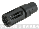 Avengers V-Comp Steel Airsoft Flashhider Black - 14mm Negative
