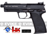 z Heckler & Koch / Umarex Full Metal USP Tactical NS2 Airsoft Gas Blowback Gun by KWA (Threaded Barrel)
