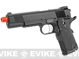 Evike Custom Full Metal 1911 Airsoft Gas Blowback Pistol with Laser Grip - Black Devil