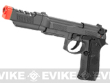 HFC Full Metal / Fully Automatic Select Fire Airsoft M9 Special Force Gas Blowback w/ Extended Suppressor