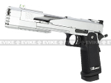 "WE 7"" Xecelerator Dragon Full Metal Hi-CAPA Airsoft Gas Blowback w/ Ext. barrel - Silver"