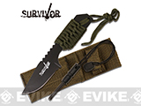 Survivor 7 Cord Wrapped Fixed Blade Survival Knife with Sheath and Fire Starter (Color: OD Green)