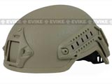 Matrix Mich 2001 Helmet w/ NVG Mount & Side Rail for Airsoft (Tan)