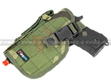 Shooter's Universal Tactical Quick Draw Belt / MOLLE holster w/ Mag pouch (Left Hand) - Woodland Camo