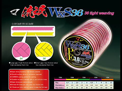Jigging Master Gangster WX8 36 Knit Tight Weaving PE Braided Line (Size: #3 68 lbs)