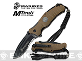 USMC Marine Reaper Assisted Opening Folding Knife with 3 5/8 Blade - Desert