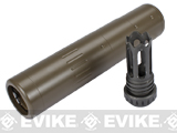 Element QD Barrel Extension w/ 14mm Negative Scar & Masada Type Steel Flashhider for Airsoft - Tan