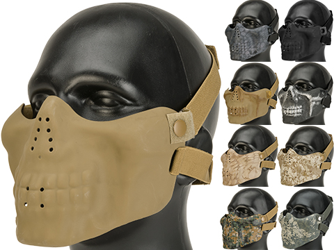 Matrix Iron Face Skull Imprint Nylon Lower Half Mask (Color: Digital Woodland)