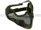 "Matrix Iron Face Carbon Steel ""Striker"" Gen2 Metal Mesh Lower Half Mask - Woodland Camo"