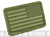 Hazard 4 US Flag Rubber Hook and Loop Patch (Style: Right Arm / OD Green)