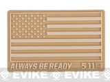 5.11 Tactical US Flag - Always Be Ready PVC Hook and Loop Morale Patch (Color: Sand)