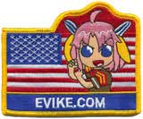 Official Licensed Evike.com US Flag w/ Anime Girl Hook Backed Morale Patch