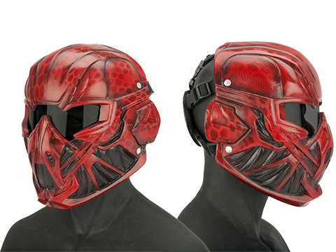 Evike.com R-Custom Fiberglass  Viper Full Face Mask with Grey Lens (Color: Red)