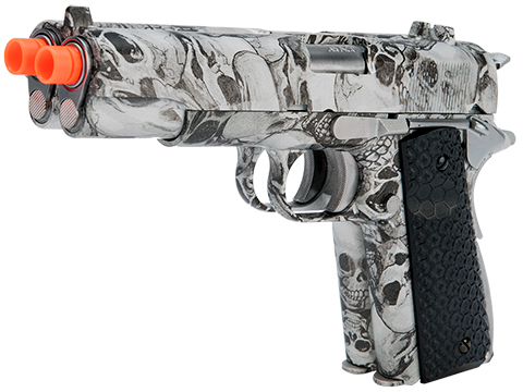 AW Custom Custom Double Barreled 1911 Airsoft Gas Blowback Pistol - SkullCam
