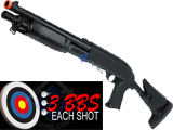 Double Eagle M3 3-Round Burst Multi-Shot Shell Loading Airsoft Shotgun (Model: Retractable Stock CQB)