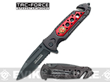 4.5 Tac-Force Rescue Folder with Seatbelt Cutter - Firefighter Red