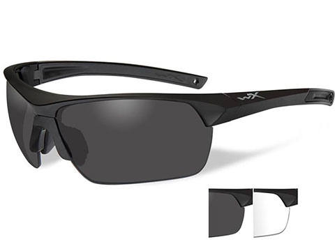 Wiley X Guard Advanced Tactical Sunglasses (Color: Smoke Grey / Clear lens with Matte Black Frame)