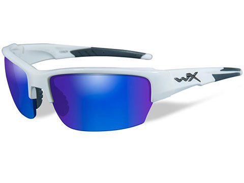 Wiley X Saint Sunglasses (Color: Polarized Blue Mirror lens with Gloss White)